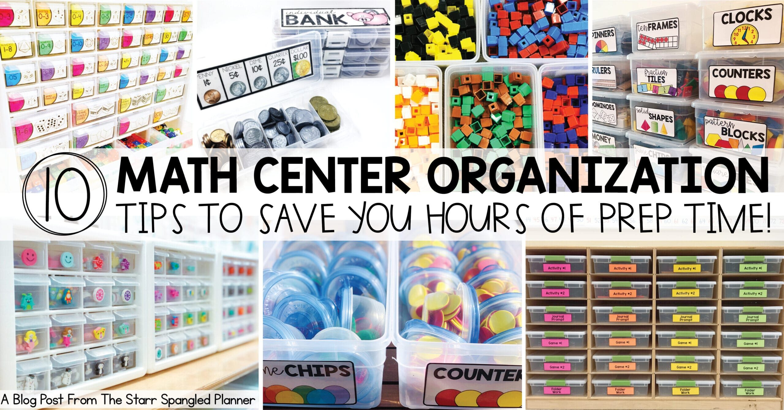 Math Center Organization- 10 Ways to save time by organizing all of your math supplies and manipulatives
