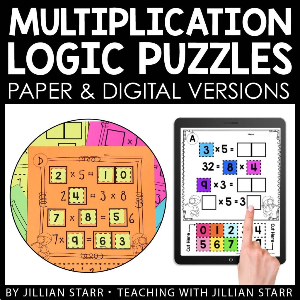 Multiplication Logic Puzzles, available both in printable and digital versions.