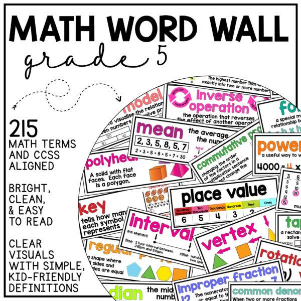 Math Word Wall Grade 5 (Common Core Aligned) Use to build math vocabulary