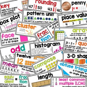 math word walls to develop math vocabulary- common core aligned terms