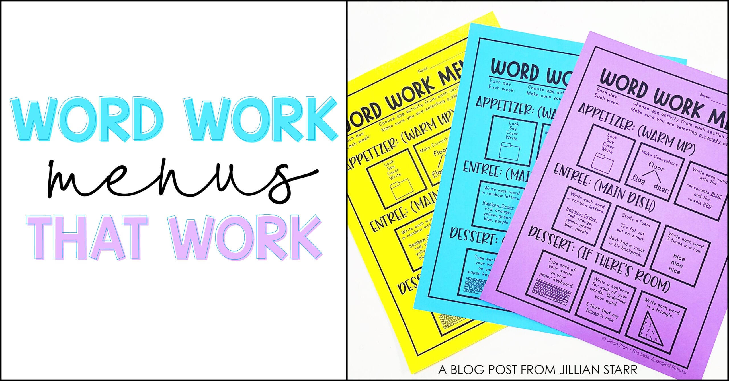 Word Work Menus for Spelling Activities and Word Study
