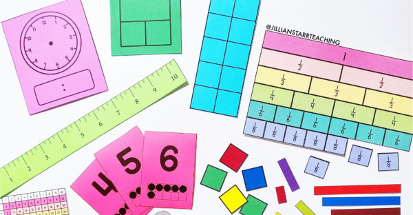 Free Printable Math Manipulatives to support remote teaching and distance learning, as well as providing students with independent math materials, since in most cases, students will not be able to share communal supplies. (base ten blocks, fraction bars, number bonds, ten frames, playing cards, 1 inch square tiles, 1-10 color rods, number lines, hundreds charts, multiplication charts, lank clocks, pattern blocks...etc.