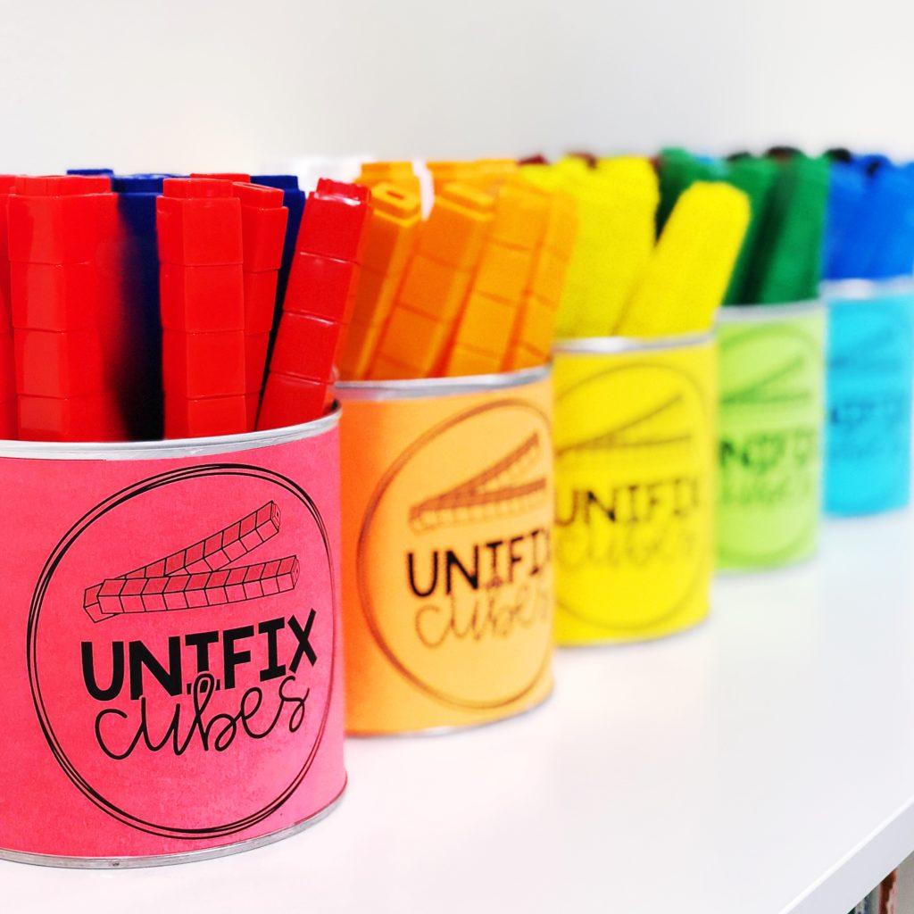 math manipulative storage: unifix cubes in sticks of ten