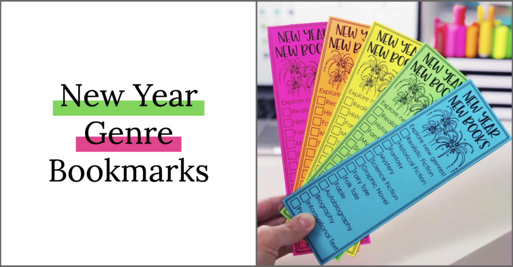 New Year bookmark activity for the kids! Get your students reading different genres this year! Perfect New Year activity for second, third and fourth grade!