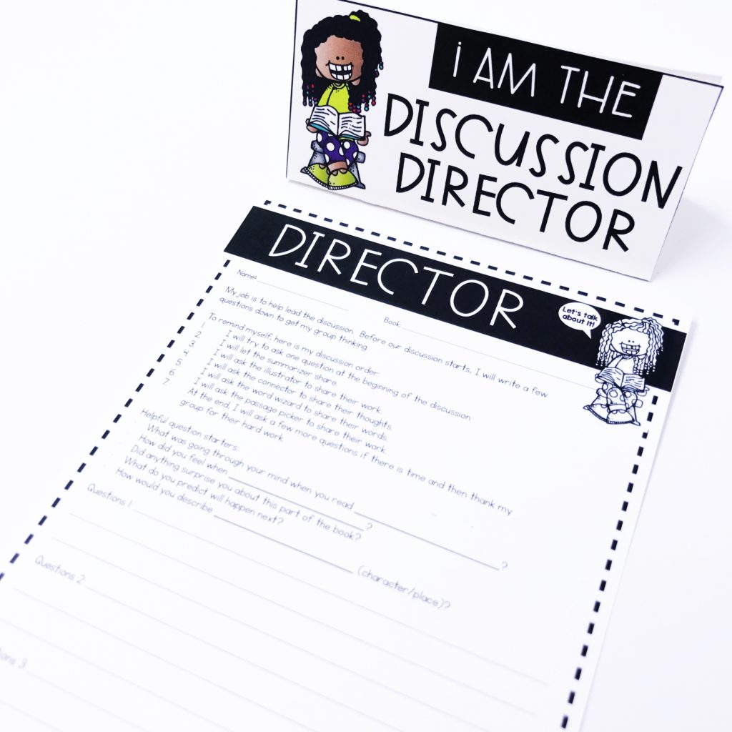 Discussion Director: Literature Circle Role Worksheet for teaching book clubs with young students in the classroom.