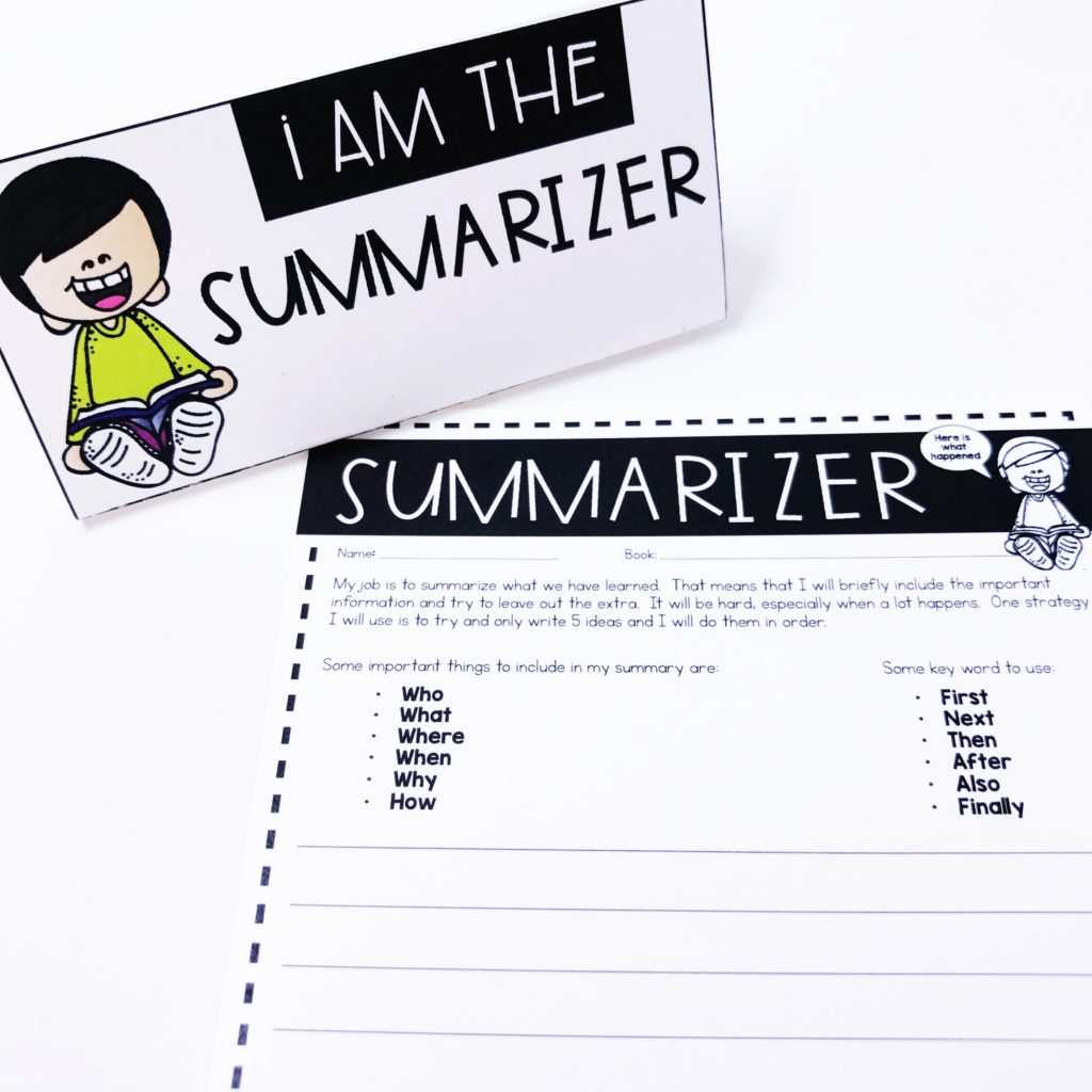 Summarizer: Literature Circle Role Worksheet for teaching book clubs with young students in the classroom.