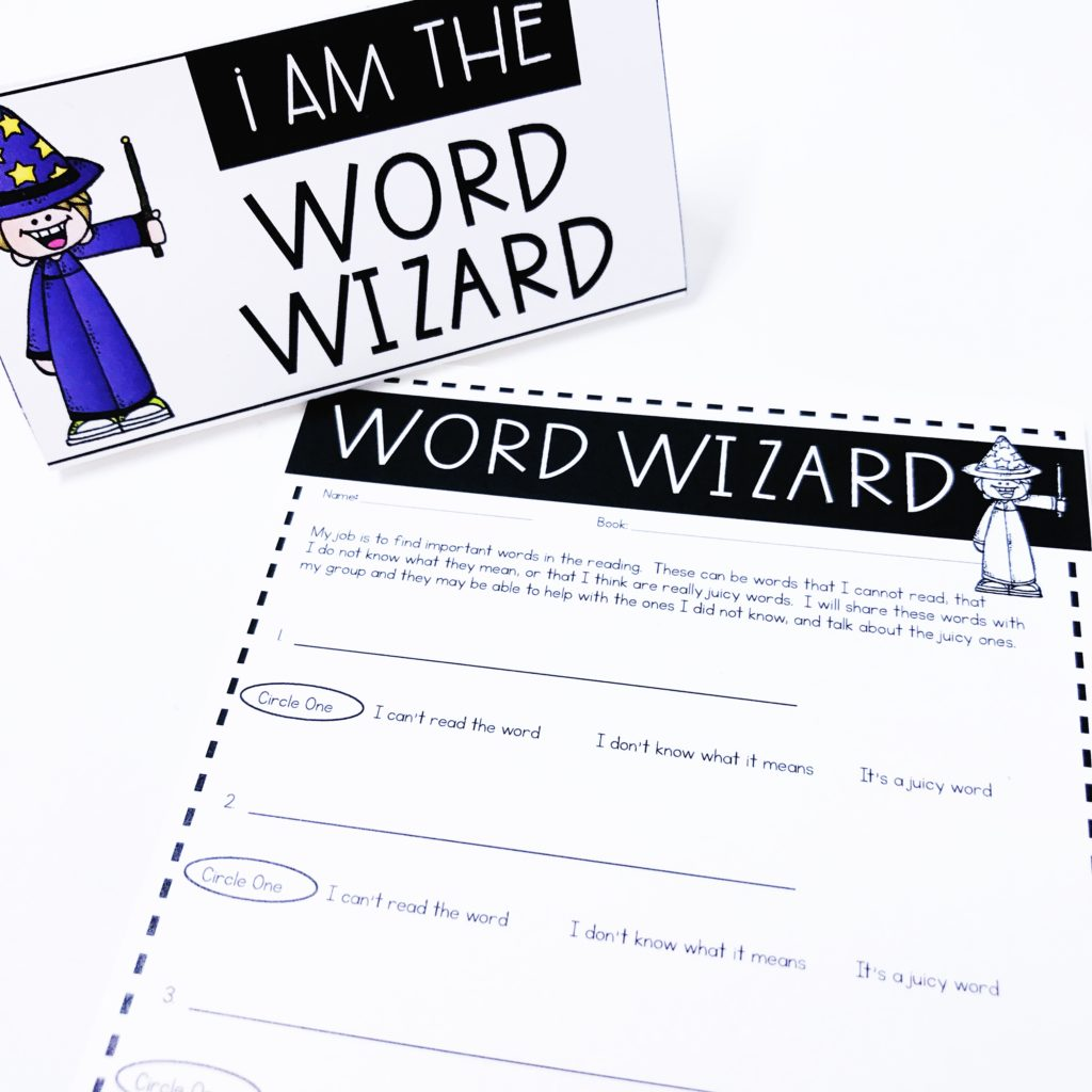 Word Wizard: Literature Circle Role Worksheet for teaching book clubs with young students in the classroom.