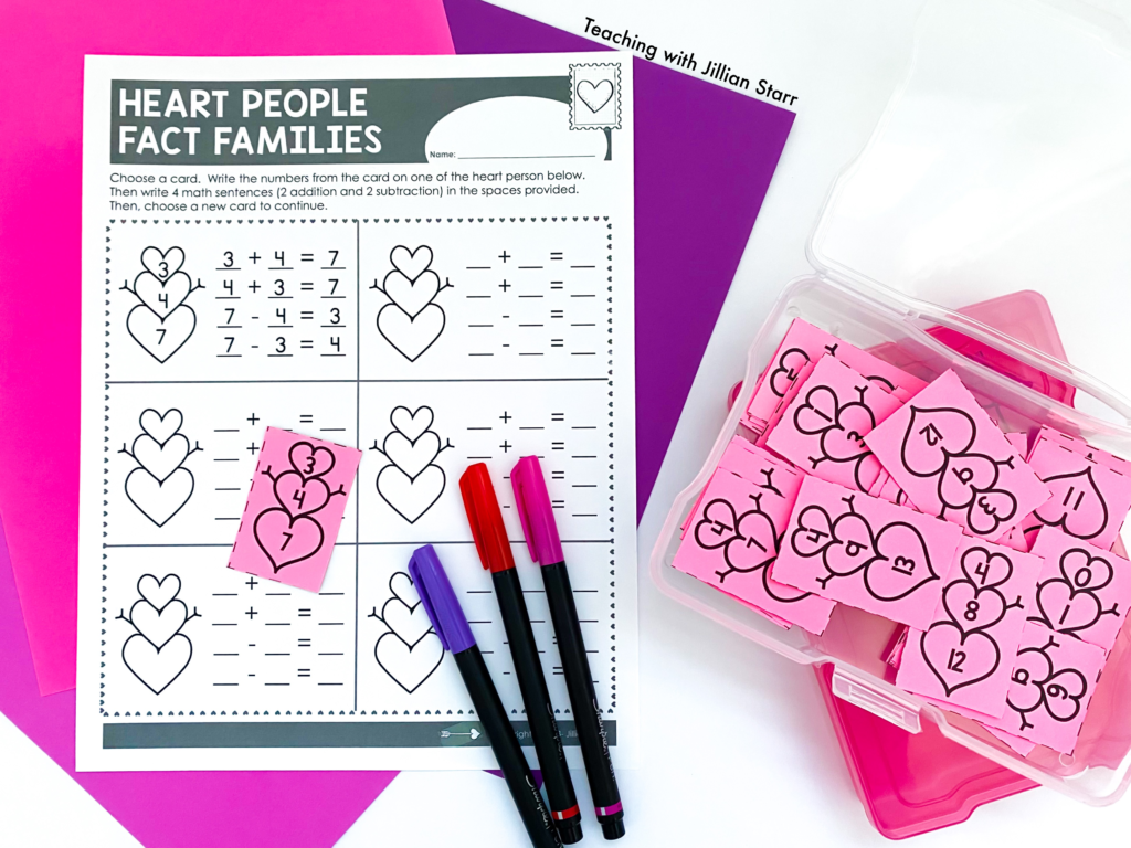 Valentine's Day Fact Families! These fun math activities are perfect for any first and second grade classroom. Free printable included!