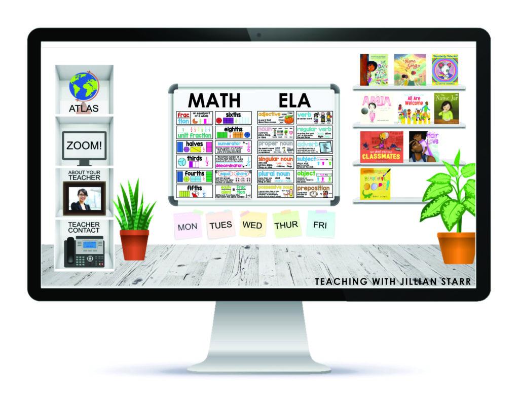 Bitmoji classroom in Google Slides, showing a bulletin board with a digital Math Word walls and ELA Word Walls.