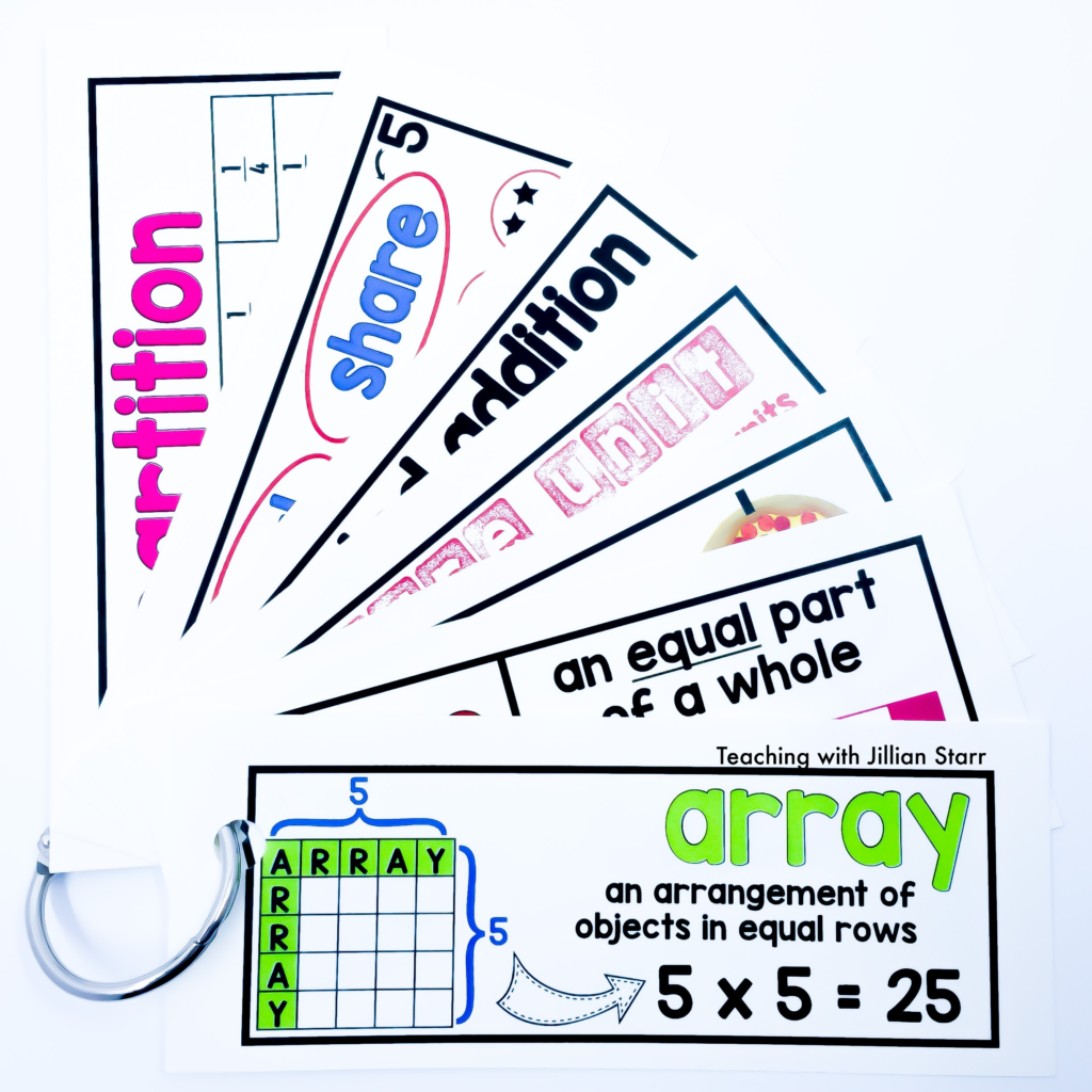 Math Word Wall cards made into personal word wall rings for students to use as individual reference tools in the classroom. This set highlights fractions and array terms for math word wall cards.