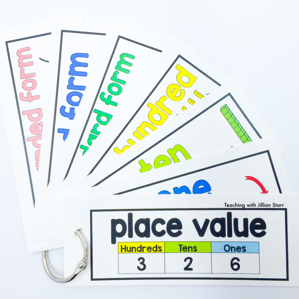 Math Word Wall cards made into personal word wall rings for students to use as individual reference tools in the classroom. This set highlights place value terms for math word wall cards.