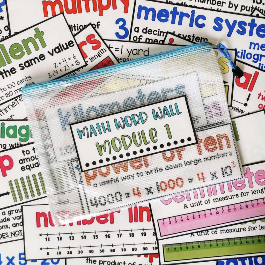 Mesh Zip Pouches to store Math Word Wall cards by unit or module according to your curriculum.