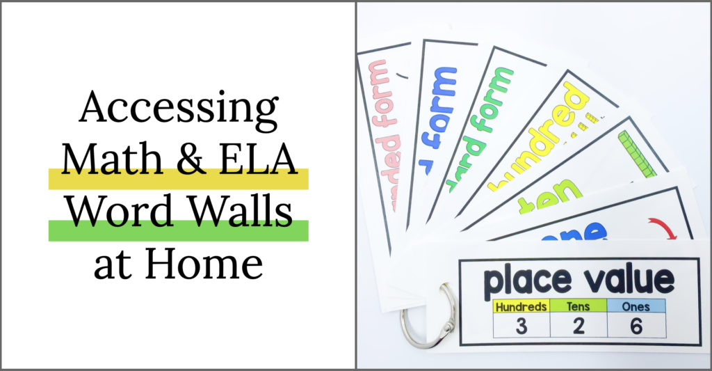 Math Word walls and ELA Word Walls are a great way to build content area and tier 3 vocabulary in the classroom. But what happens when students are learning at home? These are some great ideas to give students references and tools to use in the classroom and bring home to support their learning.