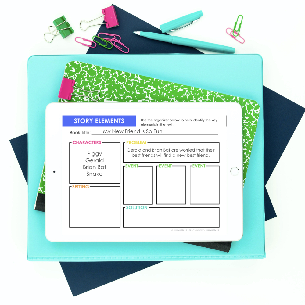 Story Elements Graphic Organizer, perfect to use with ANY text. Includes characters, problem, solution, setting and events.