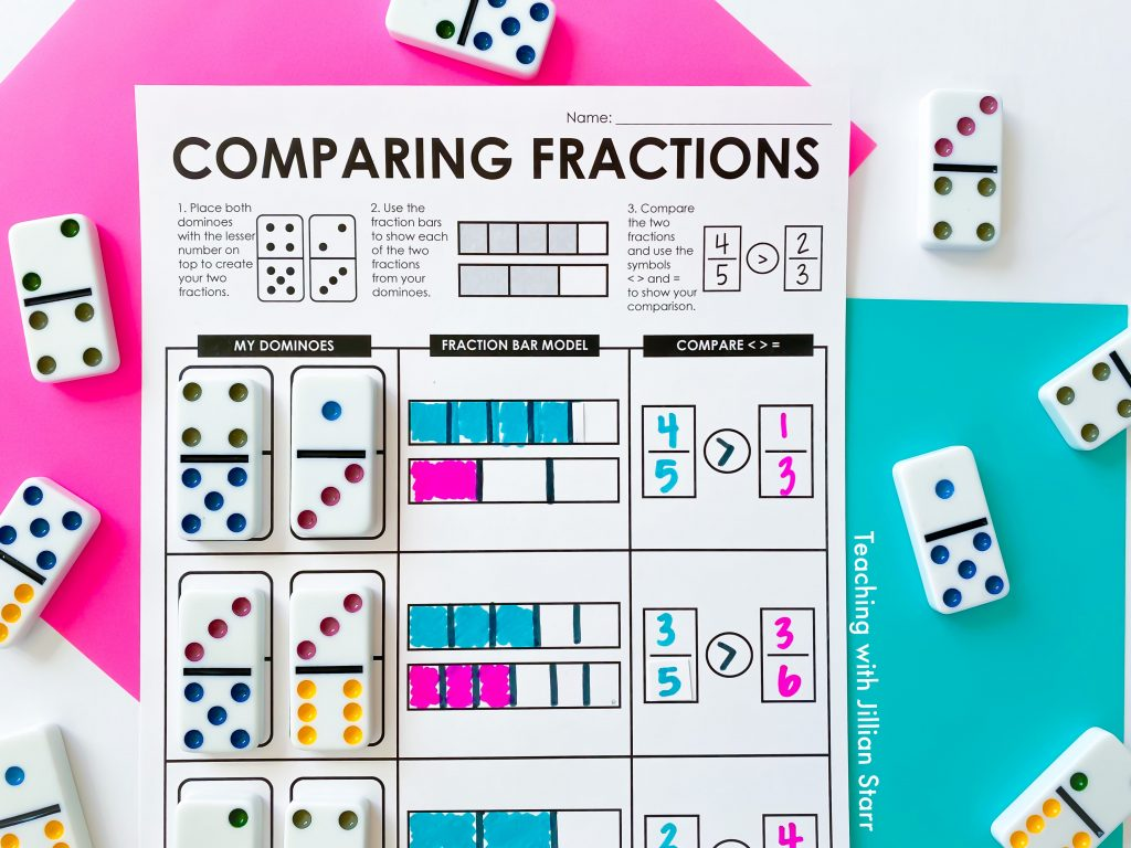 Comparing fractions with bar models