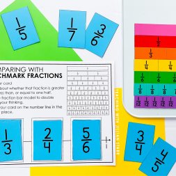 Comparing Fractions using benchmark fractions freebie