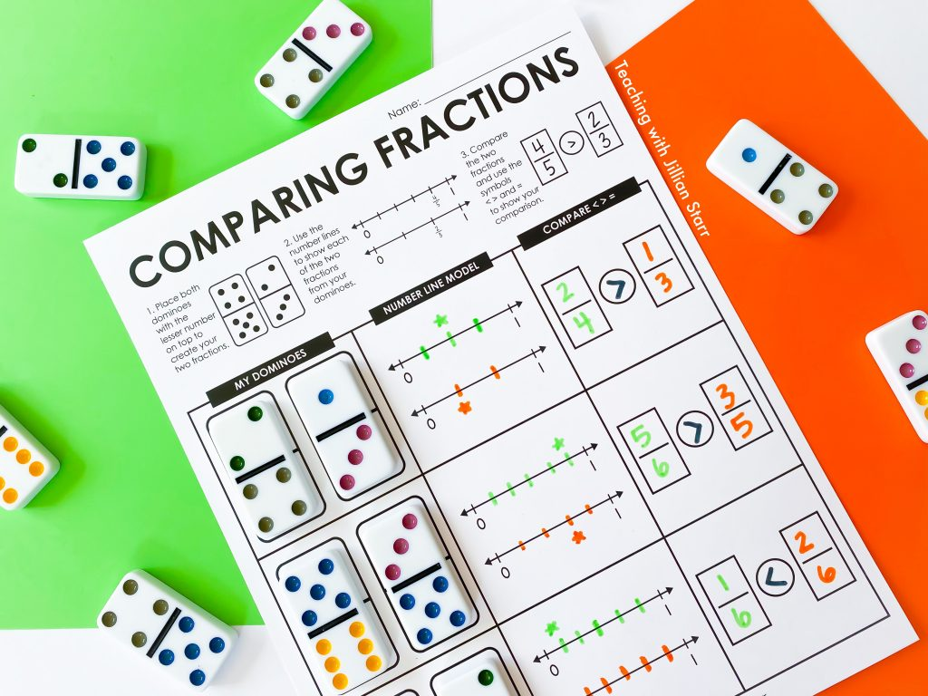 Comparing fractions activity with dominoes and number lines