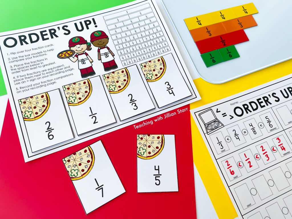 Order's Up is a game used to compare four different fractions