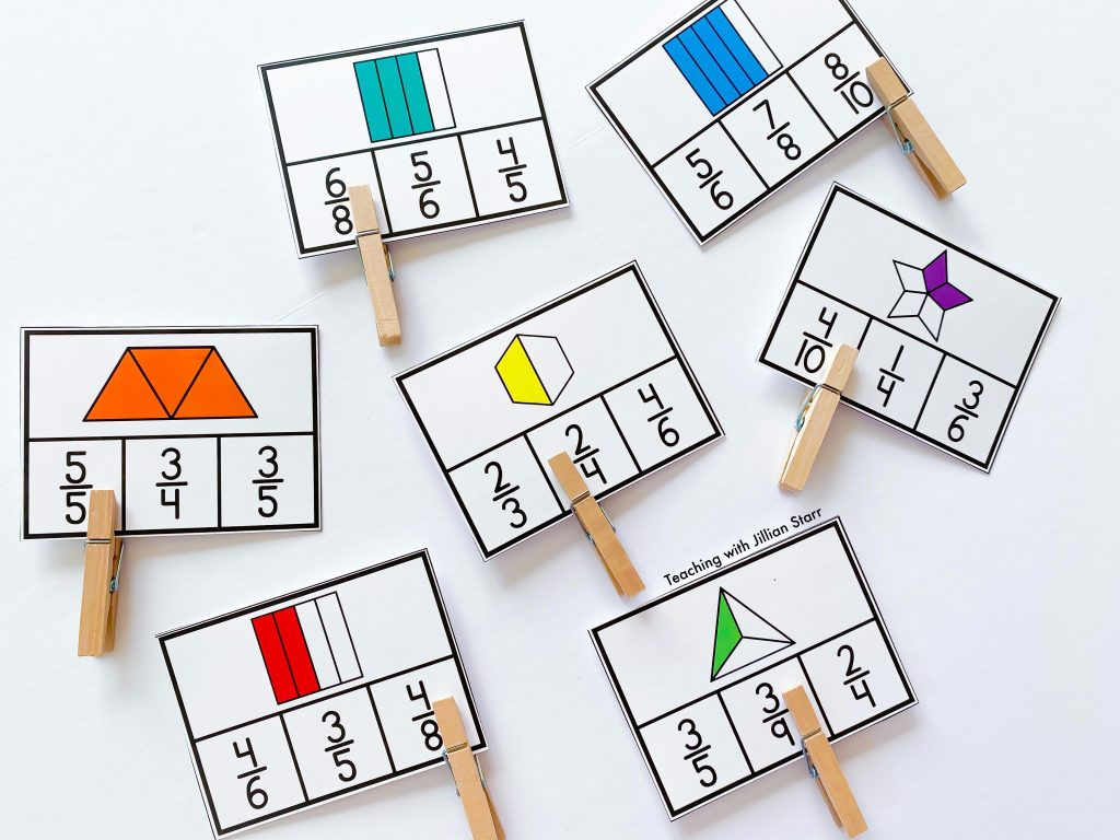 Fraction Clip Cards for great hands on practice and visual support.