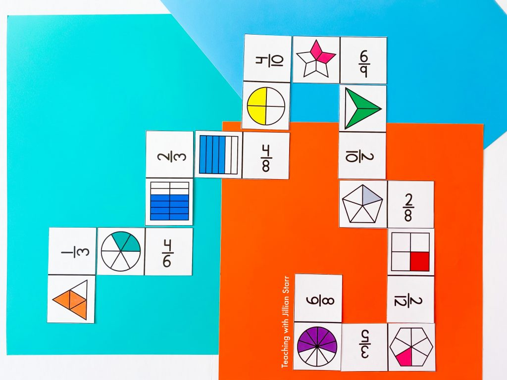 Equivalent fraction dominoes are a great and versatile activity for the classroom.