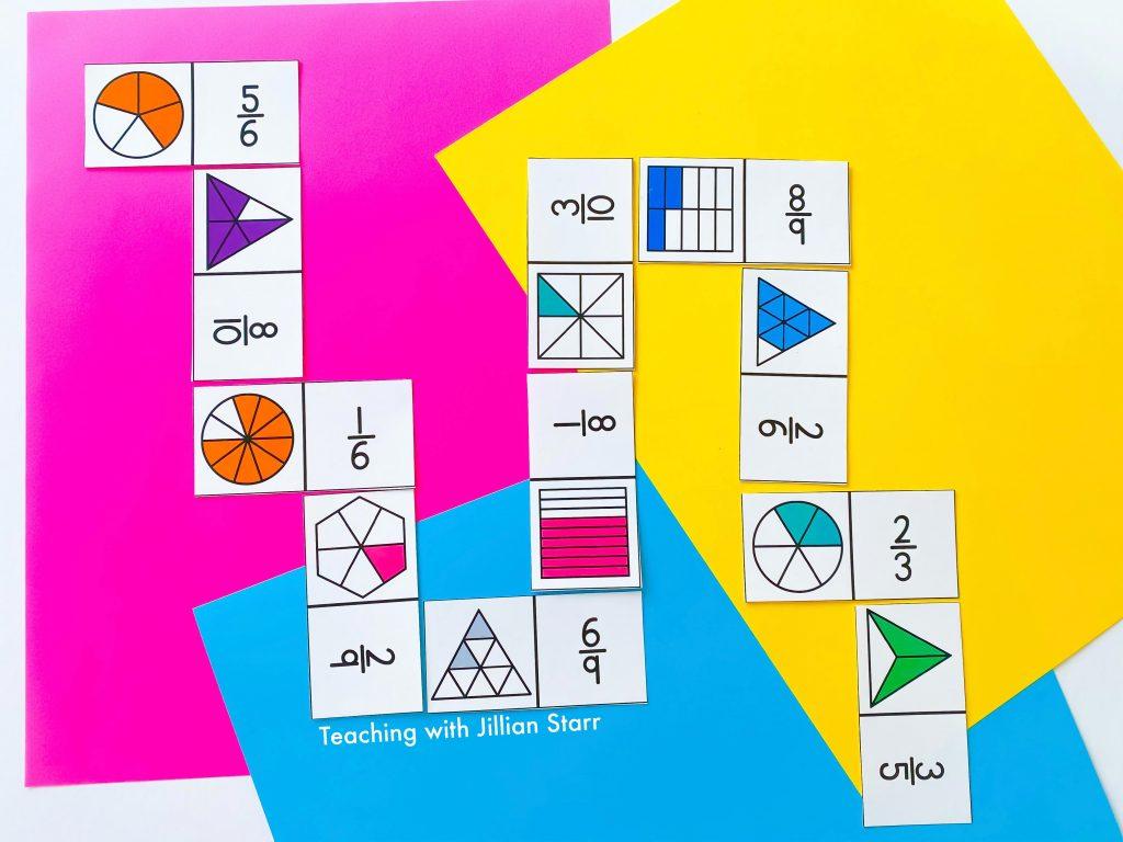 Fraction Dominoes Game for 3rd Grade