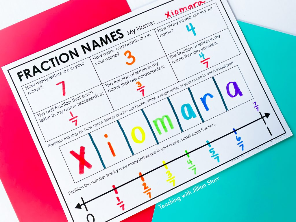 Fraction Names- Game to teach fractions