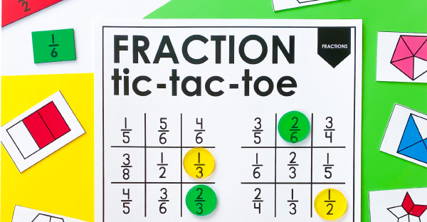 Fraction tic-tic-toe for 3rd Grade