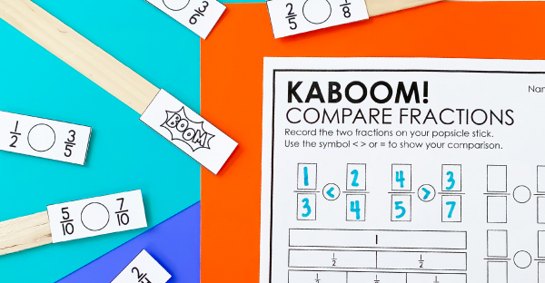 Comparing Fractions Kaboom for 3rd Grade Math Centers