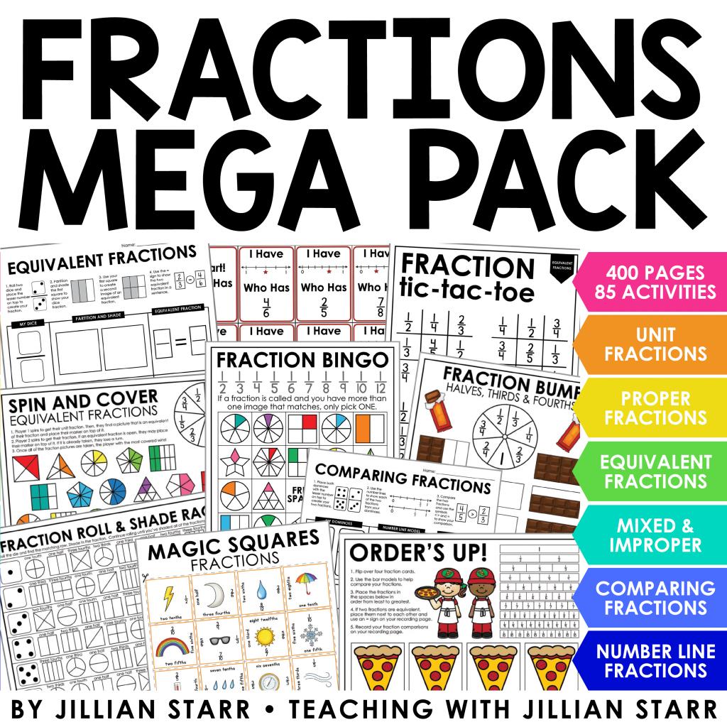 Fraction Mega Pack to teach fractions in 3rd grade