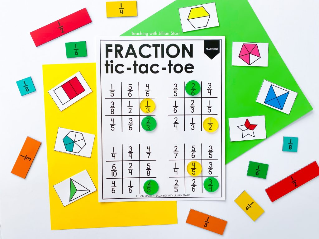 Fraction tic-tac-toe game
