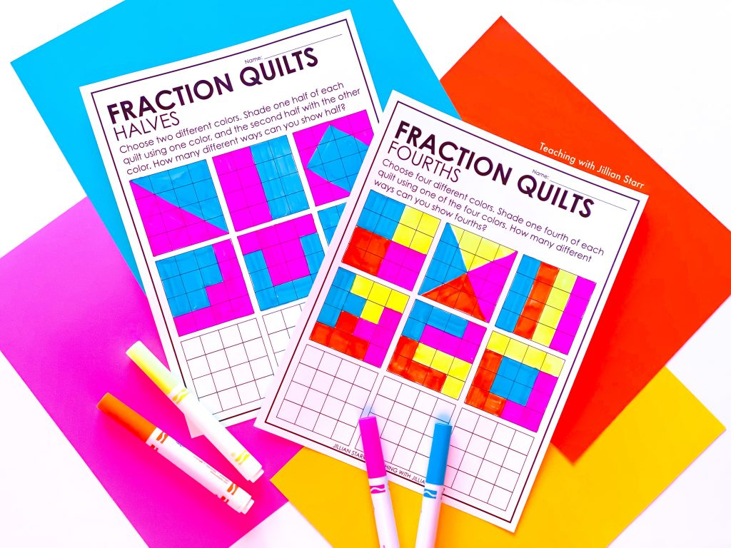 Unit Fraction Quilts for partitioning into halves, thirds and fourths.