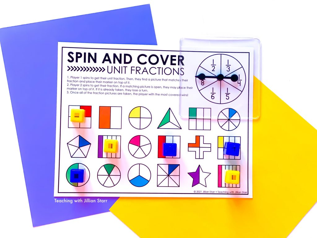 Unit Fraction Spin & Cover Game to teach unit fractions in third grade