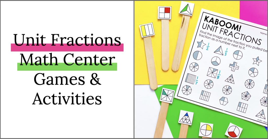 unit fraction math center games and activities for third grade.
