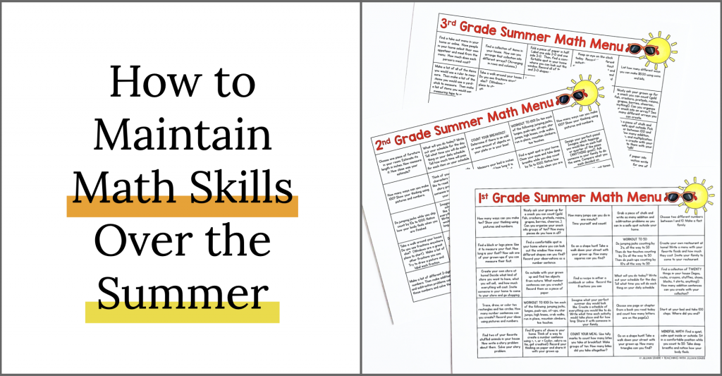 How to maintain math skills over the summer: Summer Math Menu Choice Boards for 1st, 2nd and 3rd grade.