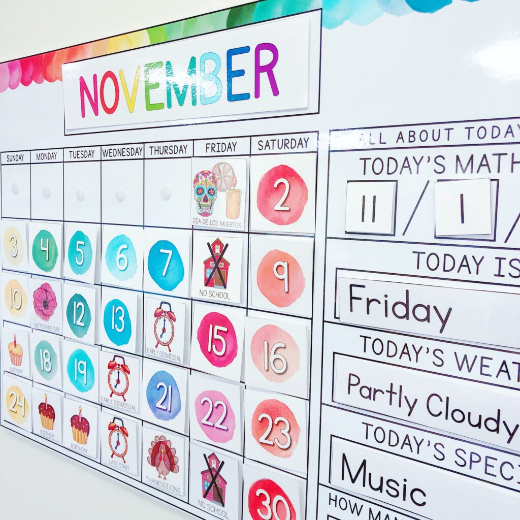 Watercolor calendar for elementary classrooms.