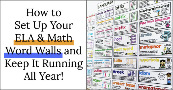 How to set up your ELA & Math word walls and keep them running all year. ELA word wall.