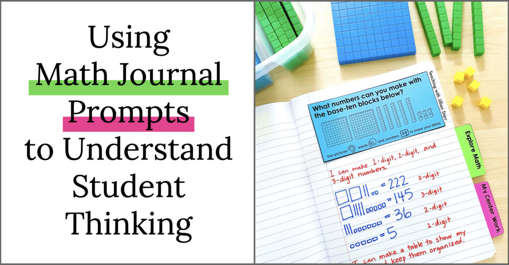 Using math journal prompts to understand student thinking. Math journal with prompt.