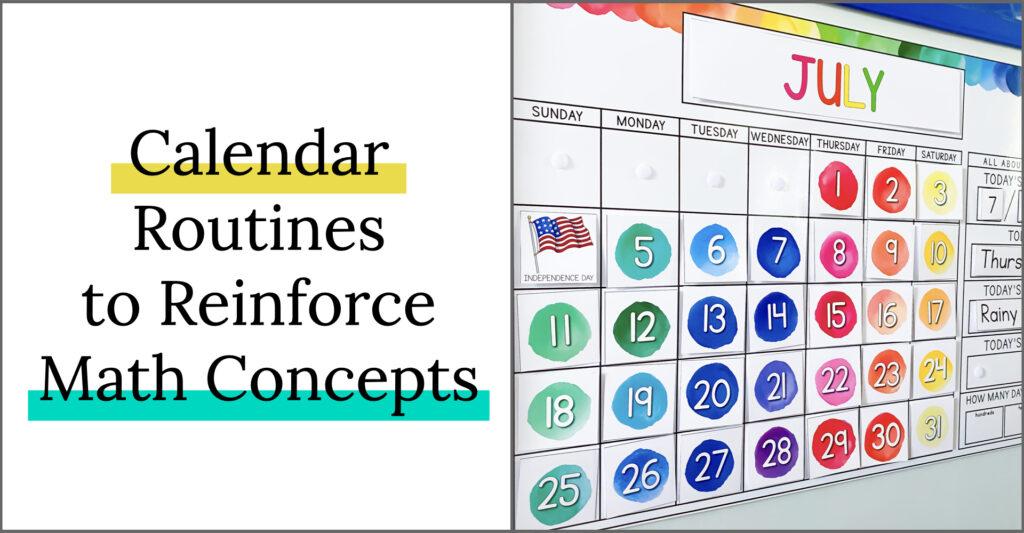 Calendar routines to reinforce math concepts. Elementary classroom calendar.