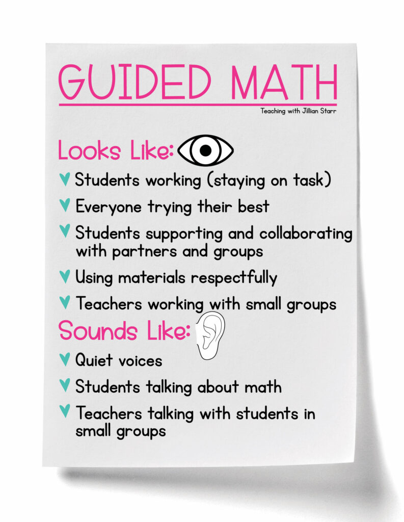 Anchor chart to support guided math launch in elementary school classrooms.