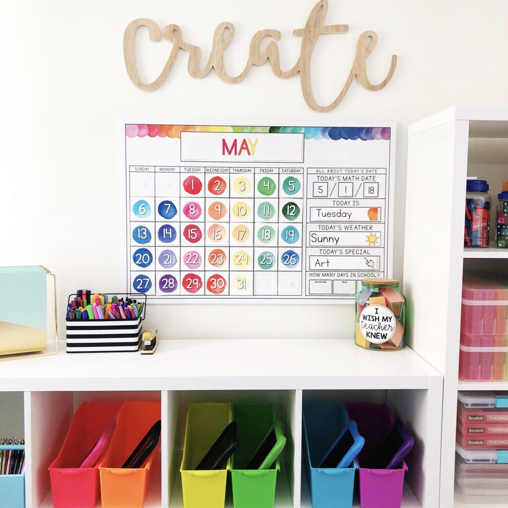 Watercolor calendar for calendar math routine in elementary classrooms.
