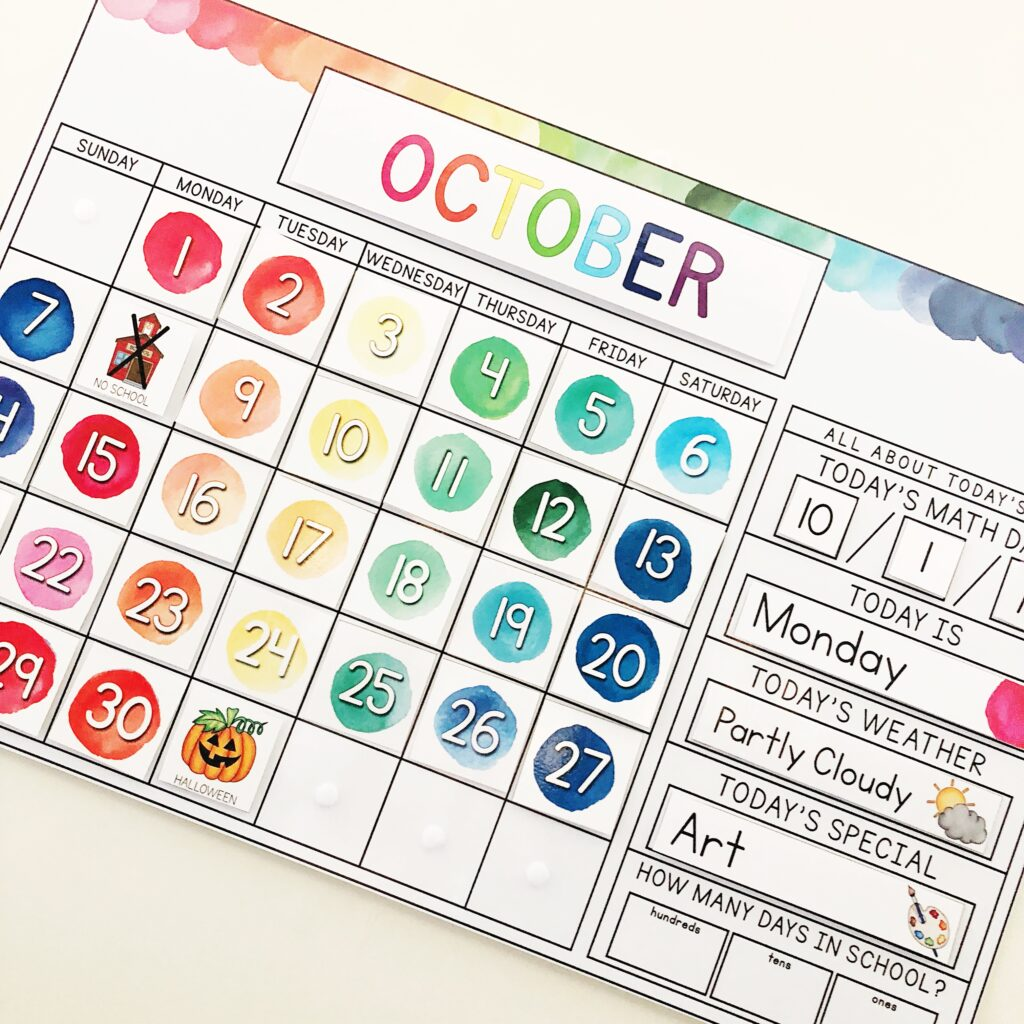 October watercolor calendar tracking days in school.