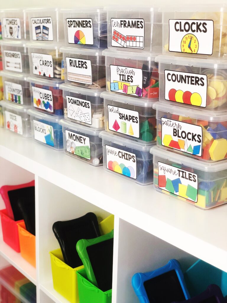 Organized and labeled manipulative bins for guided math