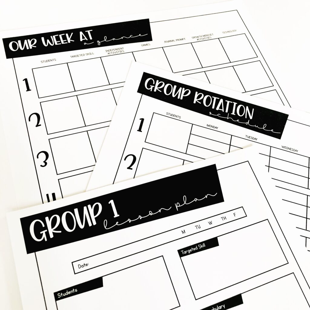 Guided math small group planning pages