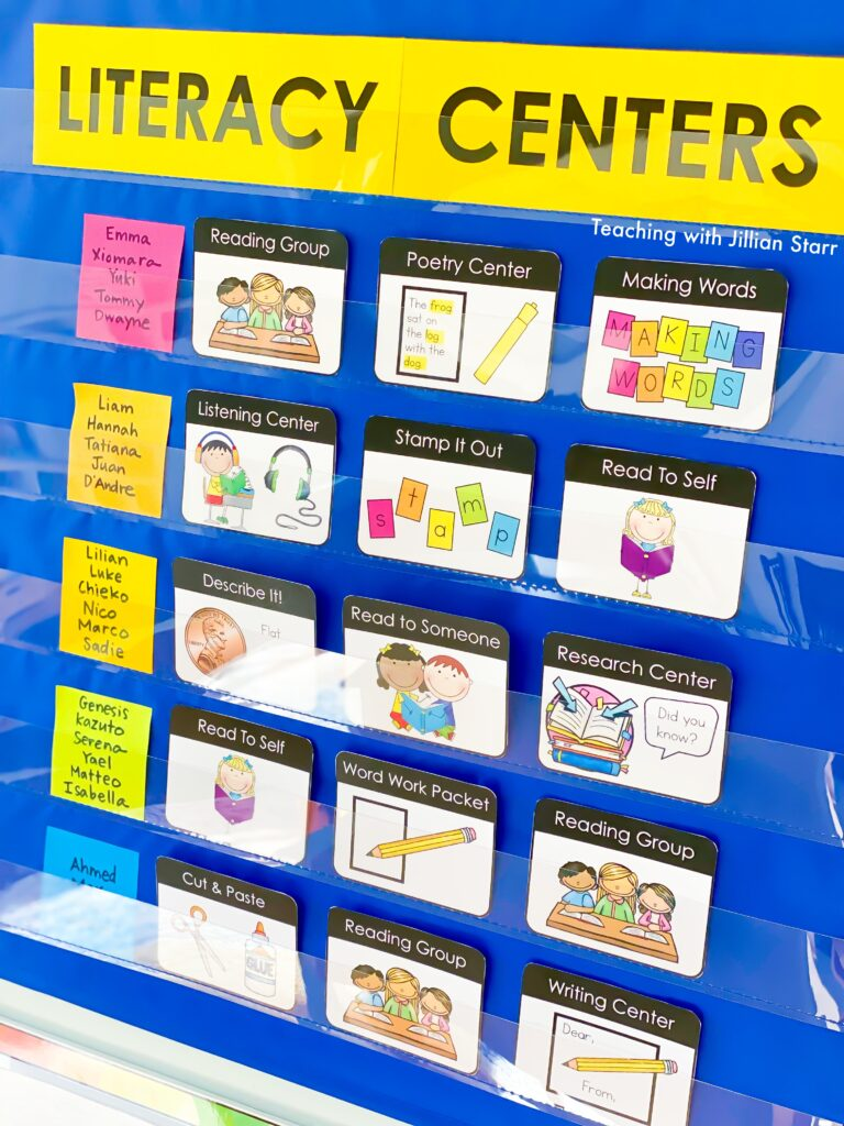 Visual work board for literacy centers and use in elementary classrooms.