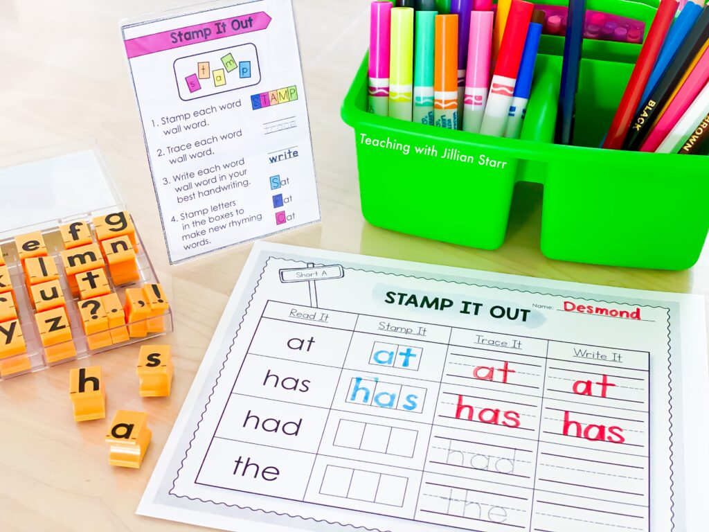 Stamp it out literacy center with visual supports