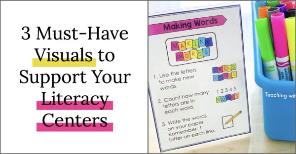 Three must-have visuals to support literacy centers. Visual directions explaining elementary center work.