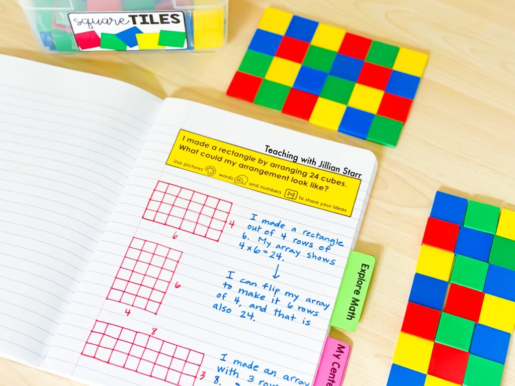 Student math journal and color tiles for third grade classroom.