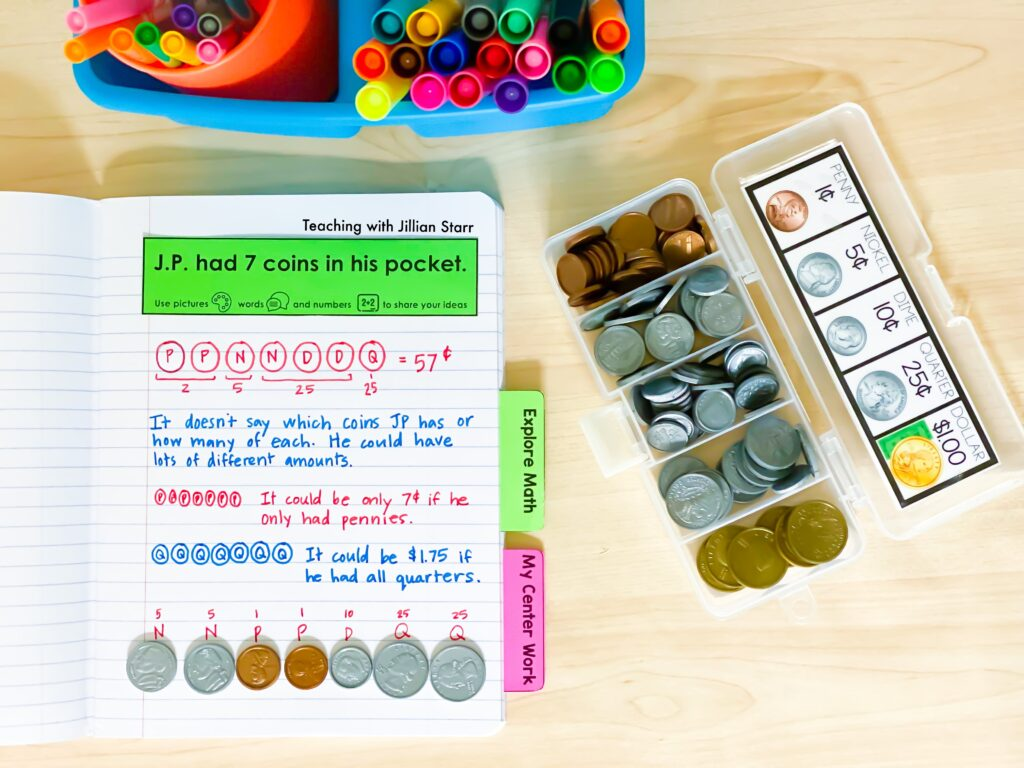 Math journal, coins, and student work supplies for elementary classroom.