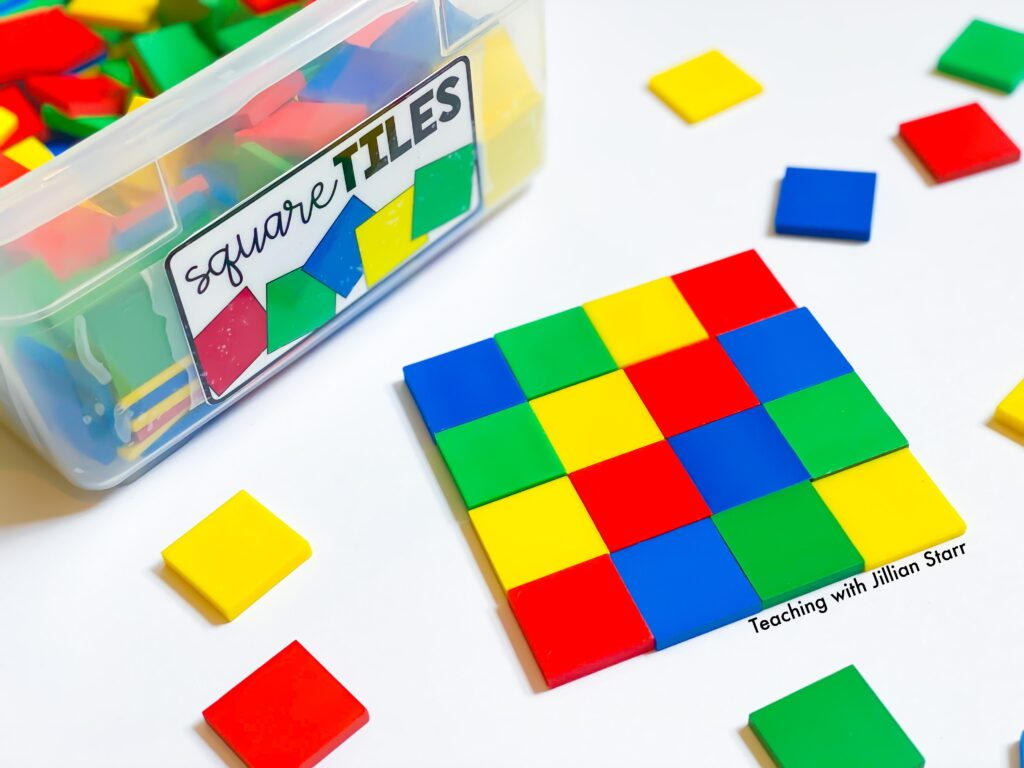 One inch color tiles for third grade math centers.