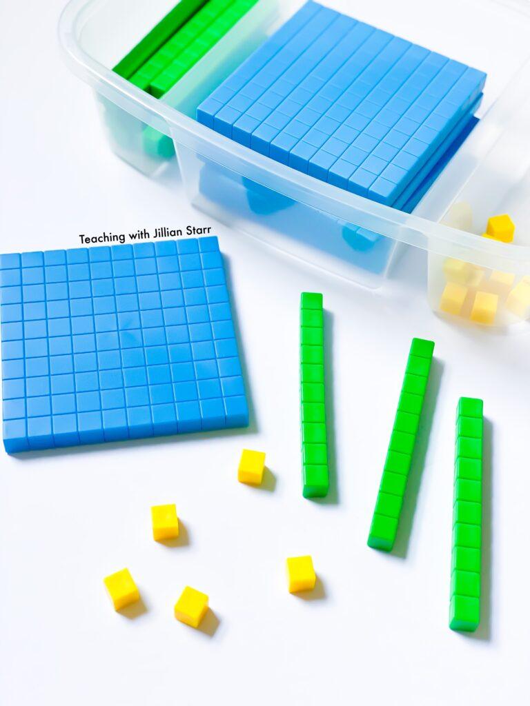 Base ten block math manipulative organized for place value math centers.
